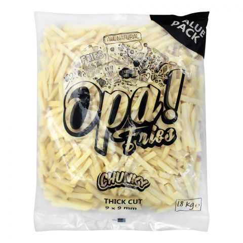 Opa! Fries Chunky Thick Cut, 9x9mm, 2 KG, Value Pack