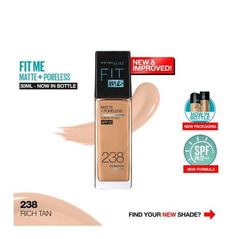 Maybelline New York Fit Me Matte + Poreless SPF 22 Foundation, 238 Rich Tan, 30ml