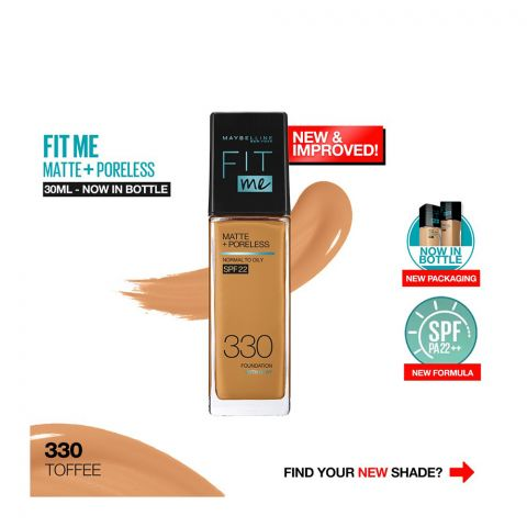 Maybelline New York Fit Me Matte + Poreless SPF 22 Foundation, 330 Toffee, 30ml