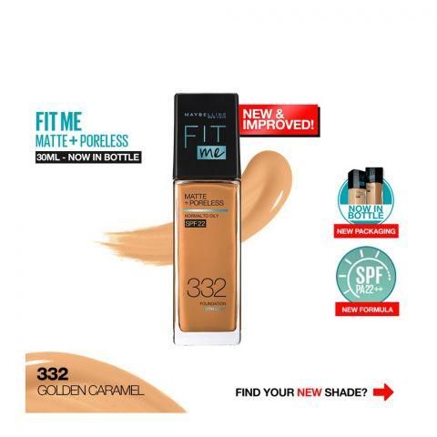 Maybelline New York Fit Me Matte + Poreless SPF 22 Foundation, 332 Golden Caramel, 30ml