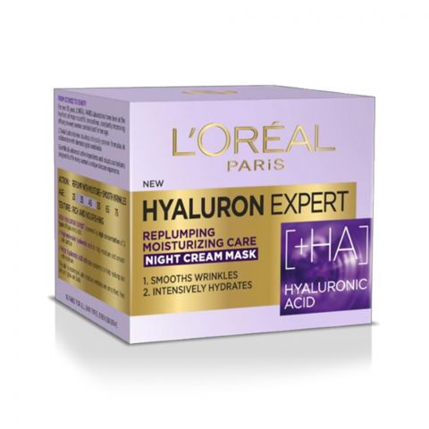 L'Oreal Paris Hyaluron Expert Replumping Moisturizing Care Night Cream Mask, 50ml