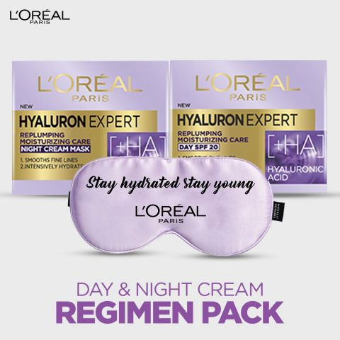 L'Oreal Hyaluron Expert Day & Night Cream Bundle Free Eye Mask