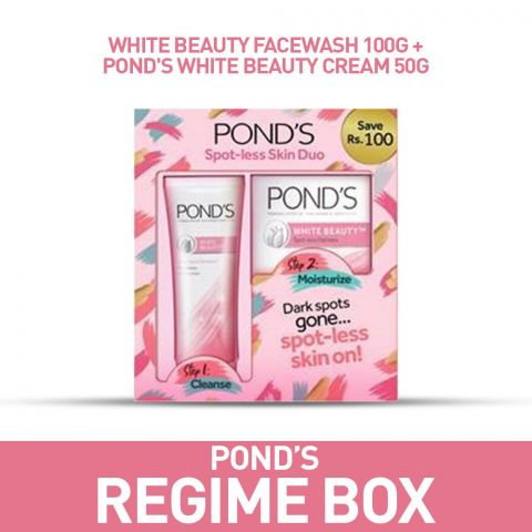 Pond's White Beauty Spot-Less  Duo Cream + Face Wash 50g, Save Rs. 100